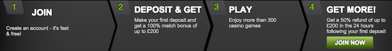 100% deposit match welcome bonus